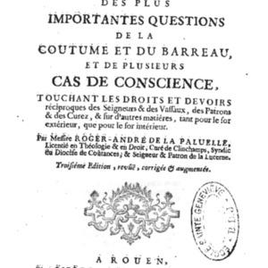 La Paluelle Roger Andr� de, R�solutions des plus importantes questions 1746 AVEC V.pdf